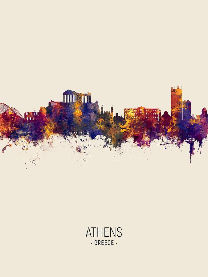 Athens Digital Art - Athens Greece Skyline by Michael Tompsett