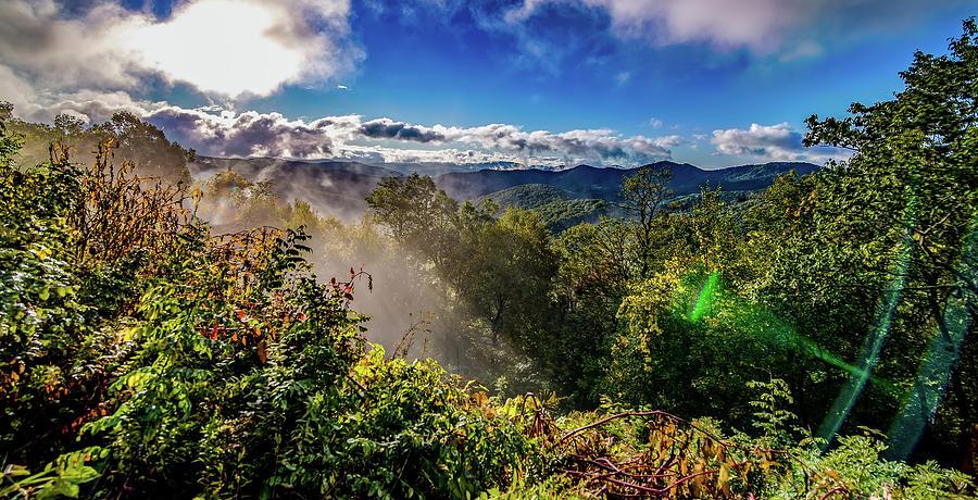 Early Morning Autumn Foggy Photo At Blue Ridge Parkway North Car Photograph