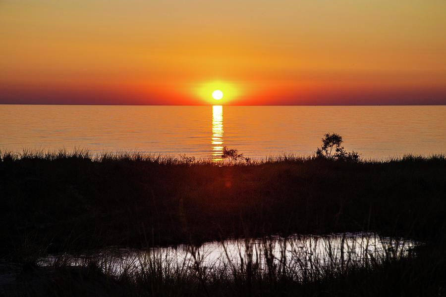 Sun Photograph - Sunset over Lake Michigan with pond by Eldon McGraw