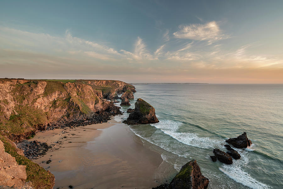 Beautiful Landscape Image During Spring Golden Hour On Cornwall Photograph