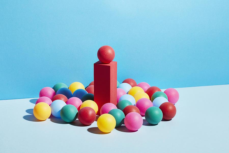 Conceptual image of geometric blocks Photograph by Richard Drury