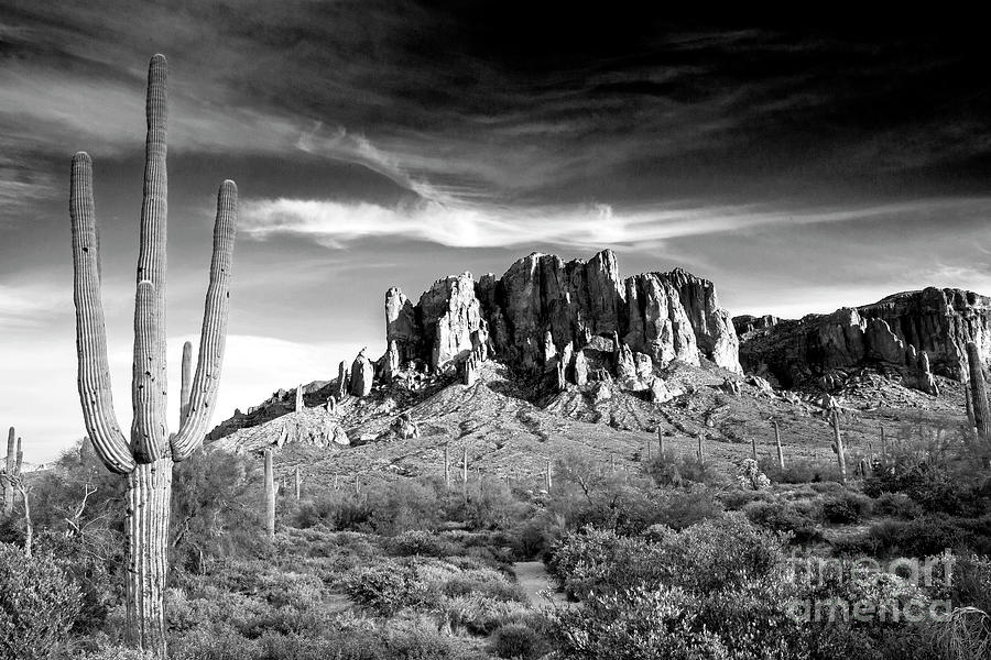 1582 Superstition Mountains Black And White Photograph