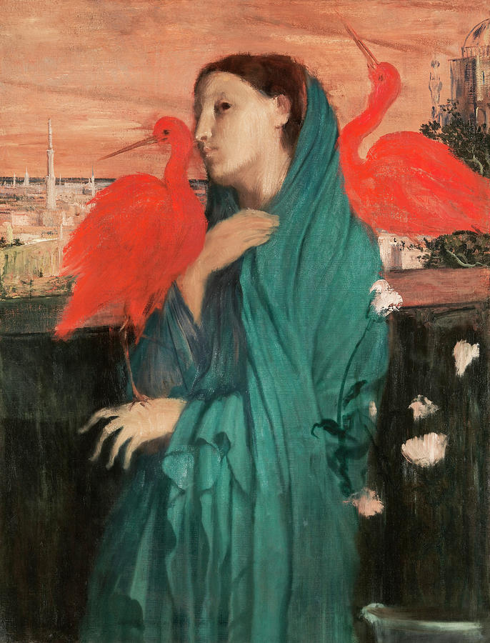 Young Woman With Ibis Painting