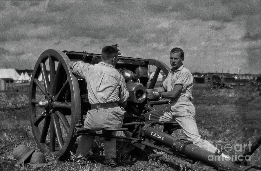 18-pounder Artillery Gun - C-battery, Royal Canadian Horse Artillery - About 1930 Photograph
