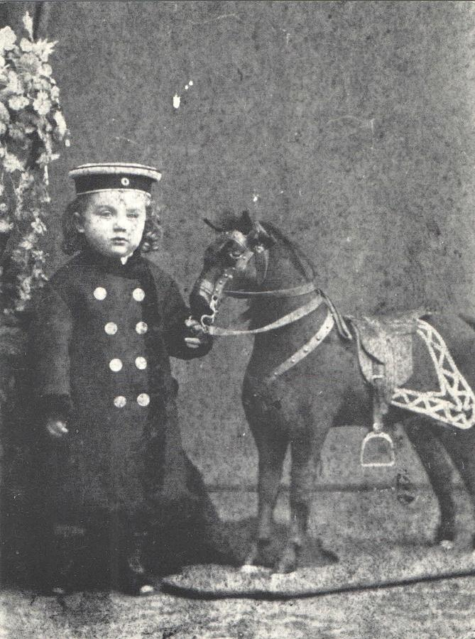 Boy Photograph - 1876 Boy with Toy Horse, Antique Photograph by Thomas Dans