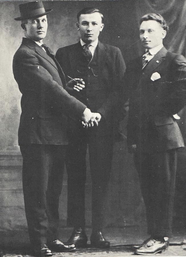 Handshake Photograph - 1898 Three Men and a Handshake, Antique Photograph by Thomas Dans