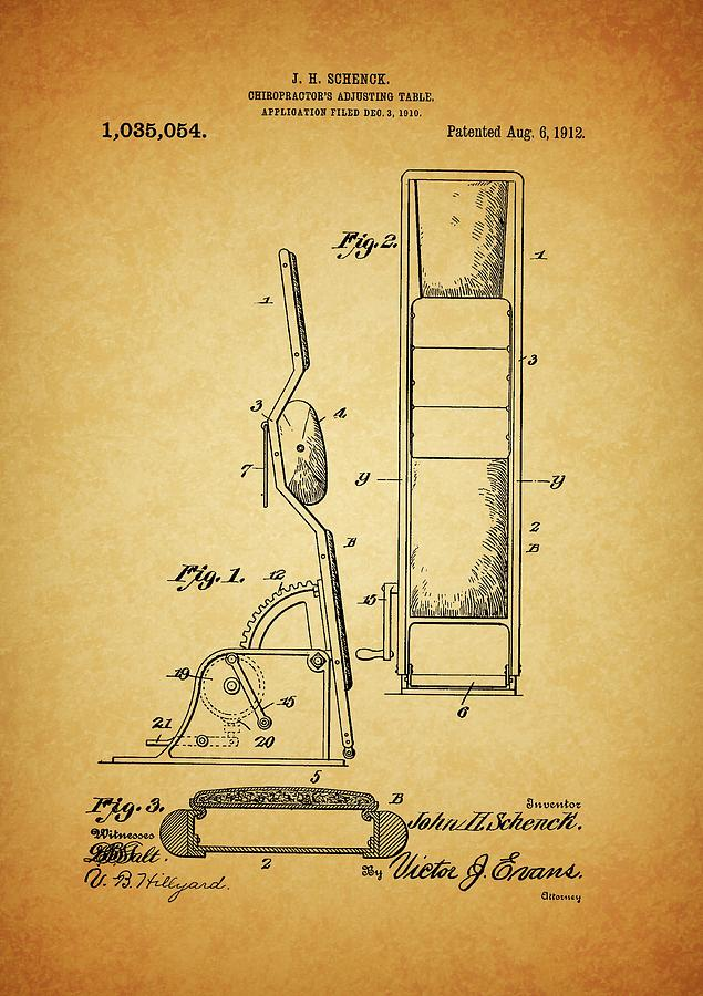 1912 Chiropractor Table Drawing