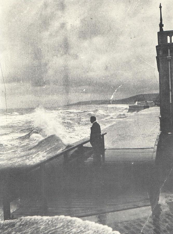 Seaside Photograph - 1914 Man by Ocean Surf, Antique Photograph by Thomas Dans