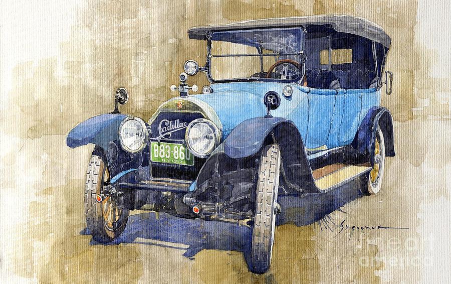 Automotive Painting - 1917 Cadillac Type 55 Suburban by Yuriy Shevchuk