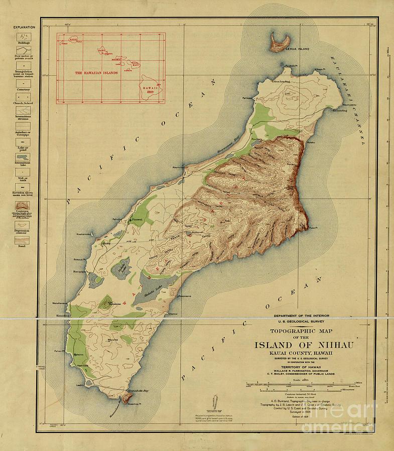 1929 Topographic Map Of The Island Of Niihau, Kauai County, Hawaii Photograph