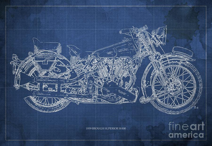 1939 Brough Superior Ss100 Blueprint, Blue Background Background Drawing