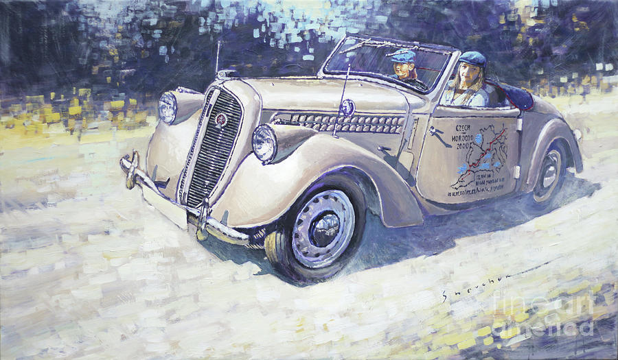 Original Painting - 1939 Skoda Roadster 1100 1939 by Yuriy Shevchuk
