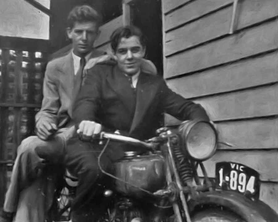 1940s Brothers On A Vintage Motorbike by Joan Stratton