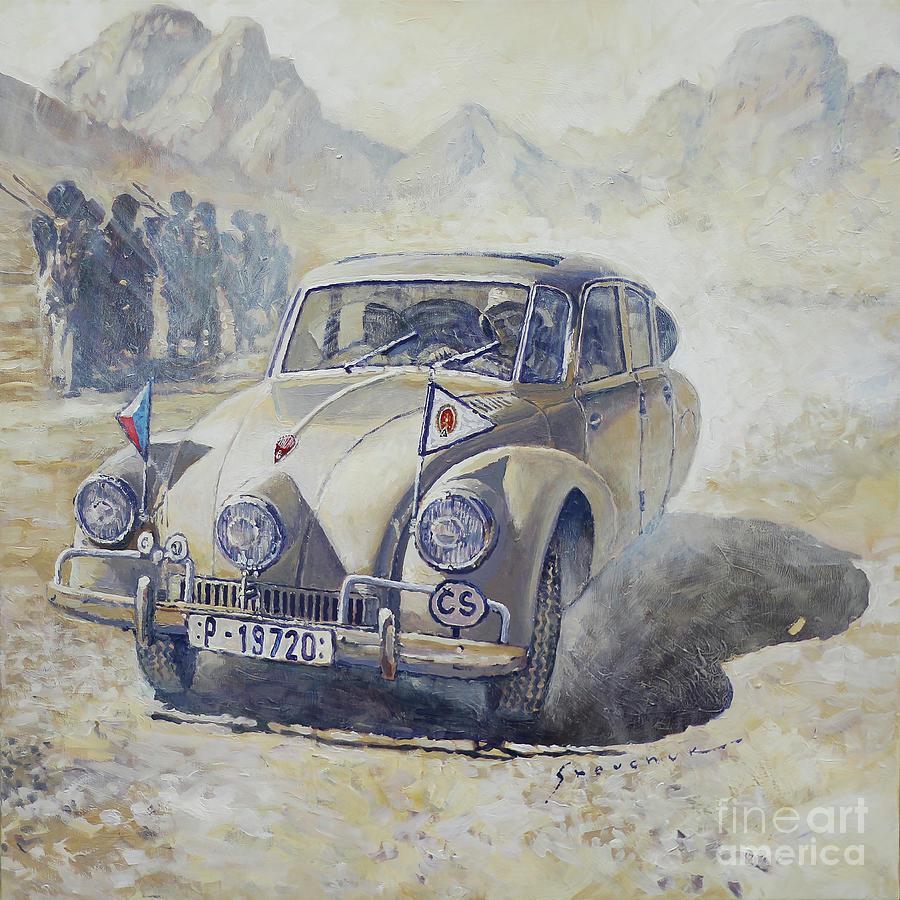 Oil Painting - 1947 Tatra 87 Hanzelka Zikmund Across Africa Kassala Sudan  by Yuriy Shevchuk