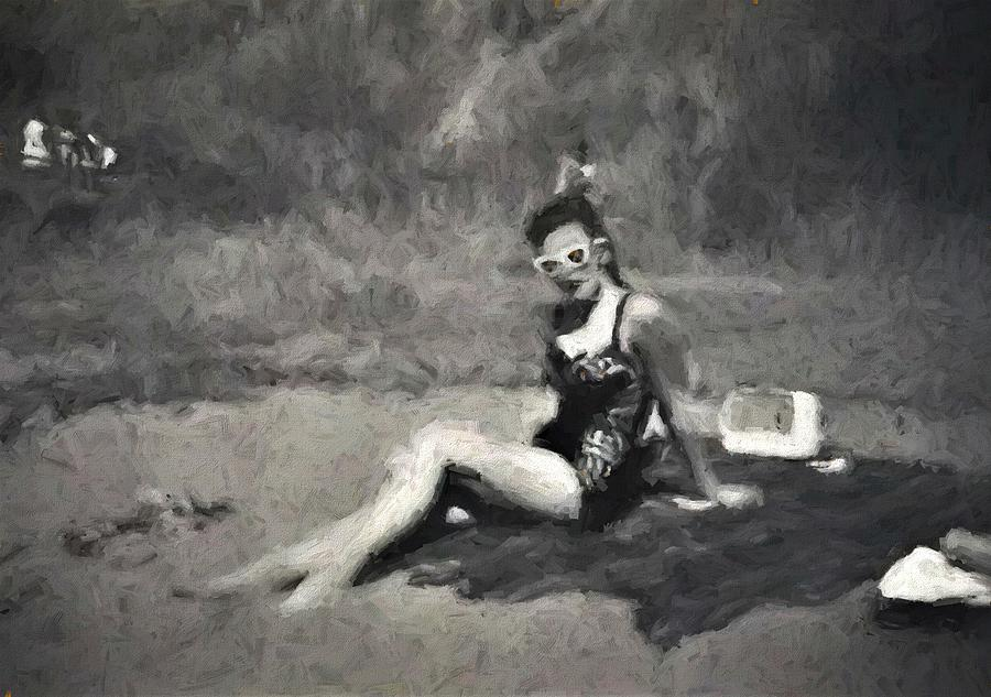 1950s Bathing Beauty At A Mornington Peninsula Beach by Joan Stratton