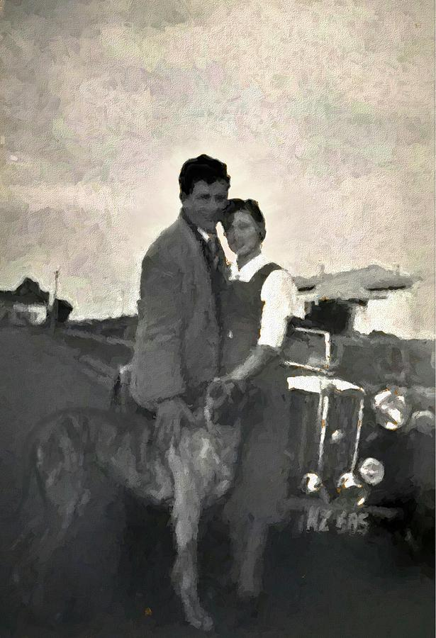 1950s Melbourne Couple Great Dane And Classic MG Car by Joan Stratton