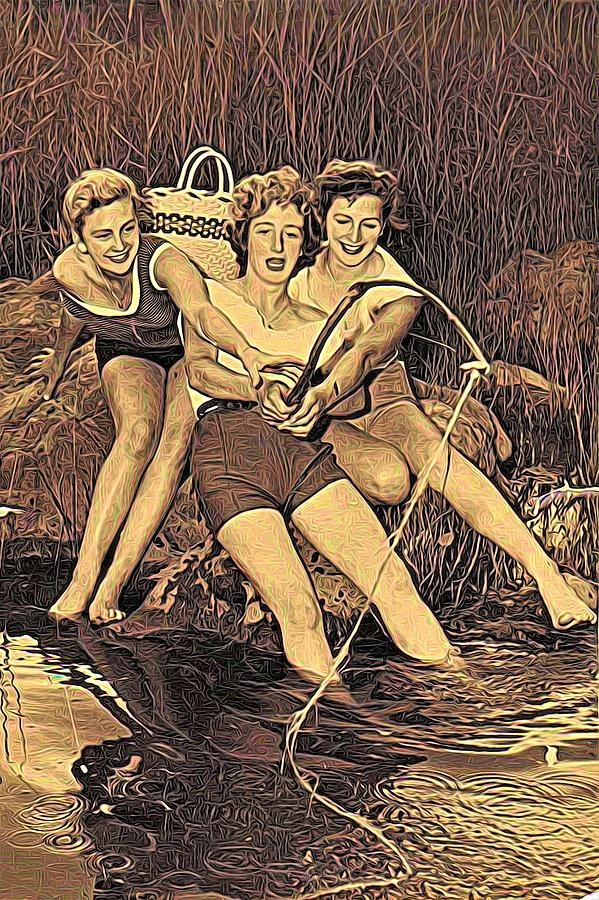 1950s Threes Sisters Fishing For...2of2 by Joan Stratton