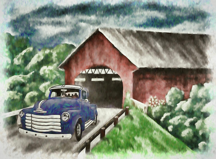 1952 Chevy Truck And The Old Covered Bridge Artistic 1 Mixed Media