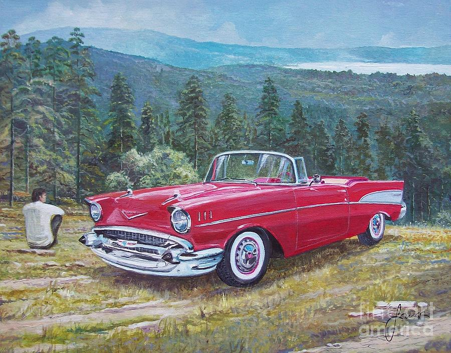 Antique Cars Painting - 1955-1957 Chevrolet Bel Air cabriolet by Sinisa Saratlic