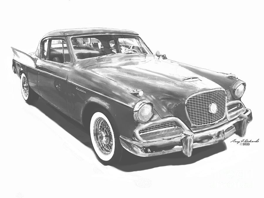1958 Studebaker Golden Hawk Ink Bw Drawing