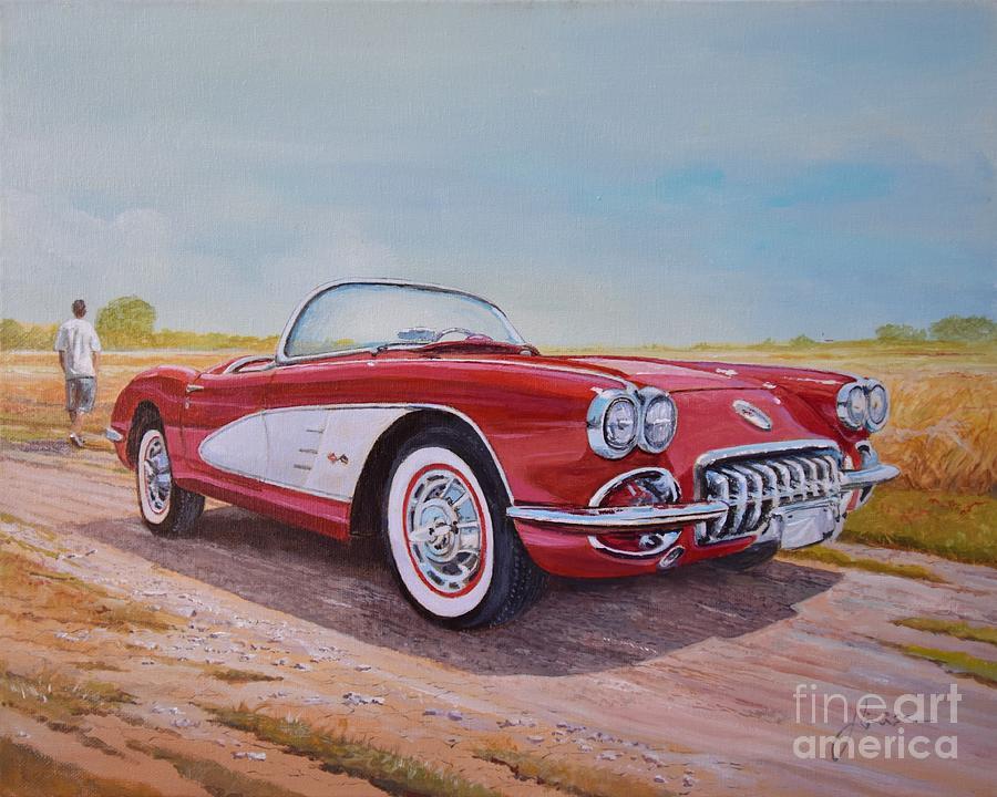 Acrylic Painting - 1959 Chevrolet Corvette cabriolet by Sinisa Saratlic