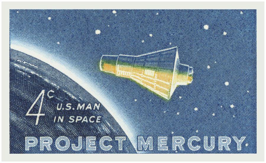 Astronaut Digital Art - 1962 Project Mercury Stamp by Greg Joens