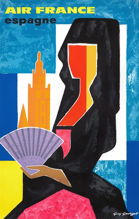 1963 Air France Spain Espagne Travel Poster Digital Art By Retro Graphics