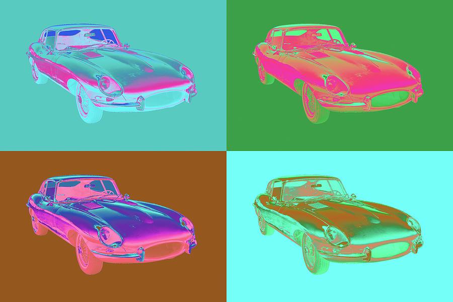 1964 Jaguar Xke Antique Sportscar Pop Art Photograph