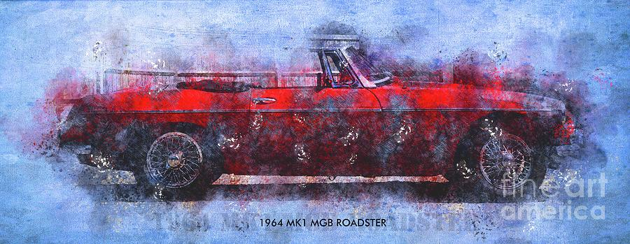 1964 Mk1 Mgb Roadster Poster,classic Cars Posters For Classic Cars Fans Drawing
