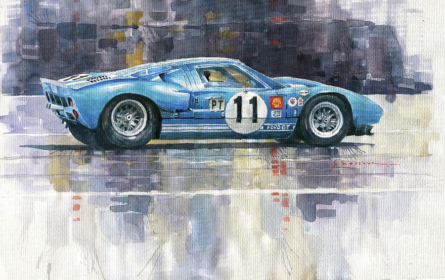 Automotive Painting - 1965 Sebring 12h Race  #11 Ford GT 40  Ken Miles Bruce McLaren by Yuriy Shevchuk