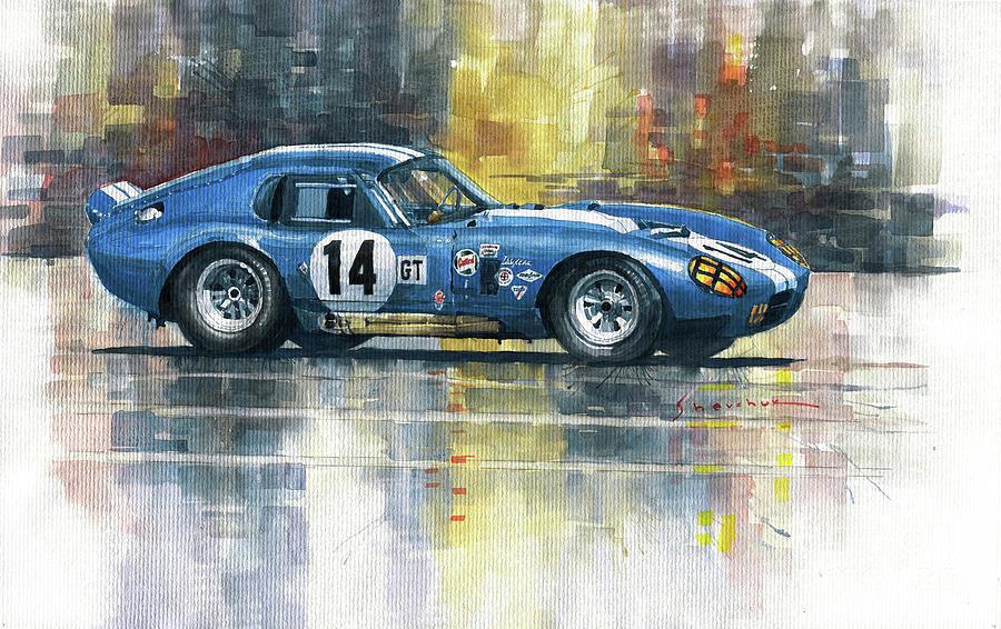 Watercolor Painting - 1965 Sebring 12h Race #14 Shelby Cobra Daytona Payne by Yuriy Shevchuk