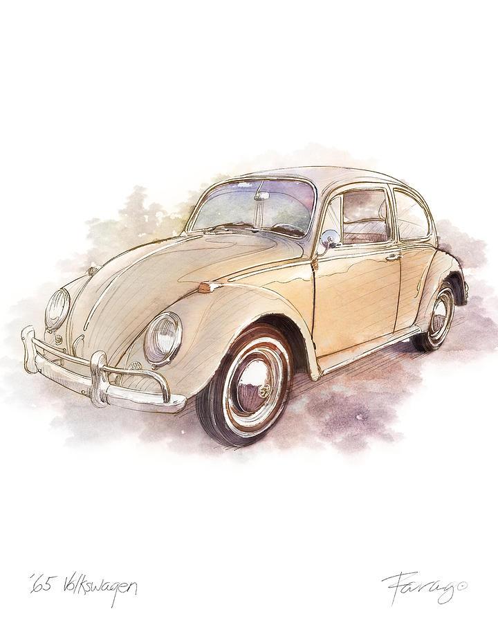 Vw Beetle Drawing - 1965 Volkswagen Beetle by Peter Farago