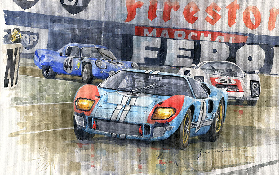 Motorsport Painting - 1966 Le Mans 24 Ford Gt40 Porsche 906 Lh Alpine A210  by Yuriy Shevchuk