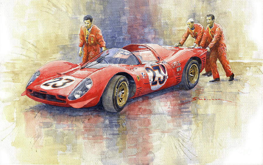 Automotive Painting - 1967 Daytona 24h Ferrari 330 P4 Spyder  by Yuriy Shevchuk