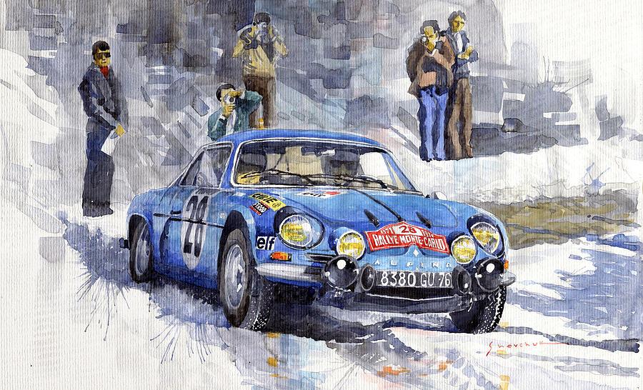 Watercolor Painting - 1971 Rallye Monte Carlo Alpine Renault A110 1600 Andersson Stone Winner by Yuriy Shevchuk
