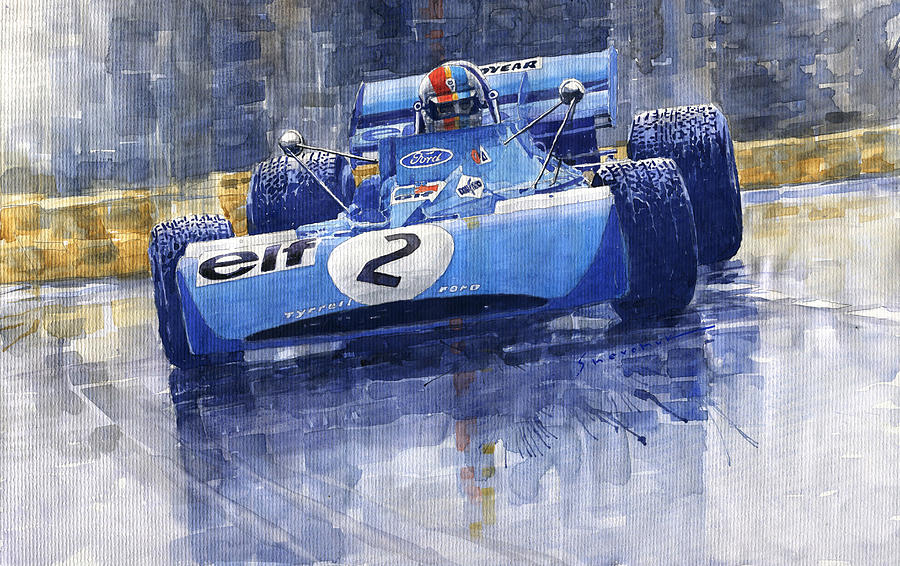 Watercolor Painting - 1972 Monaco Gp Tyrrell Ford 003 Francois Cevert by Yuriy Shevchuk