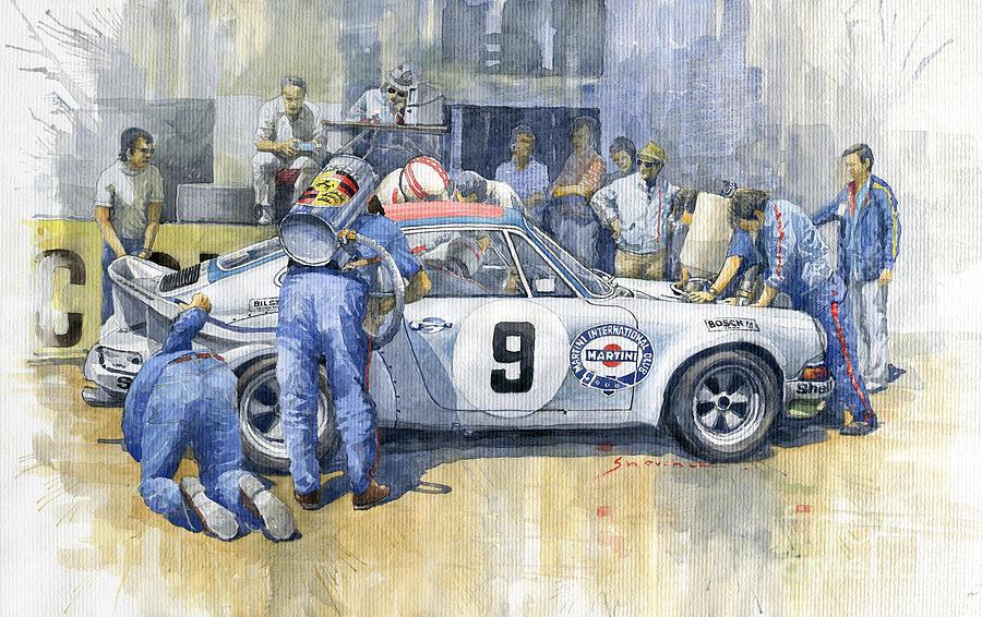 Watercolor Painting - 1973 Targa Florio Porsche 911 RSR by Yuriy Shevchuk