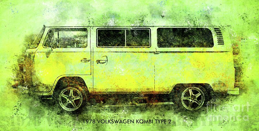 1978 Drawing - 1978 VOLKSWAGEN KOMBI TYPE 2 Classic Car Poster by Drawspots Illustrations