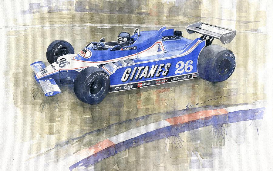 Watercolor Painting - 1980 Monaco Gp Ligier Ford Js 11 15 Jacques Laffite  by Yuriy Shevchuk