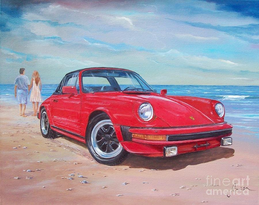 Beach Painting - 1985 Porsche 911 Targa by Sinisa Saratlic