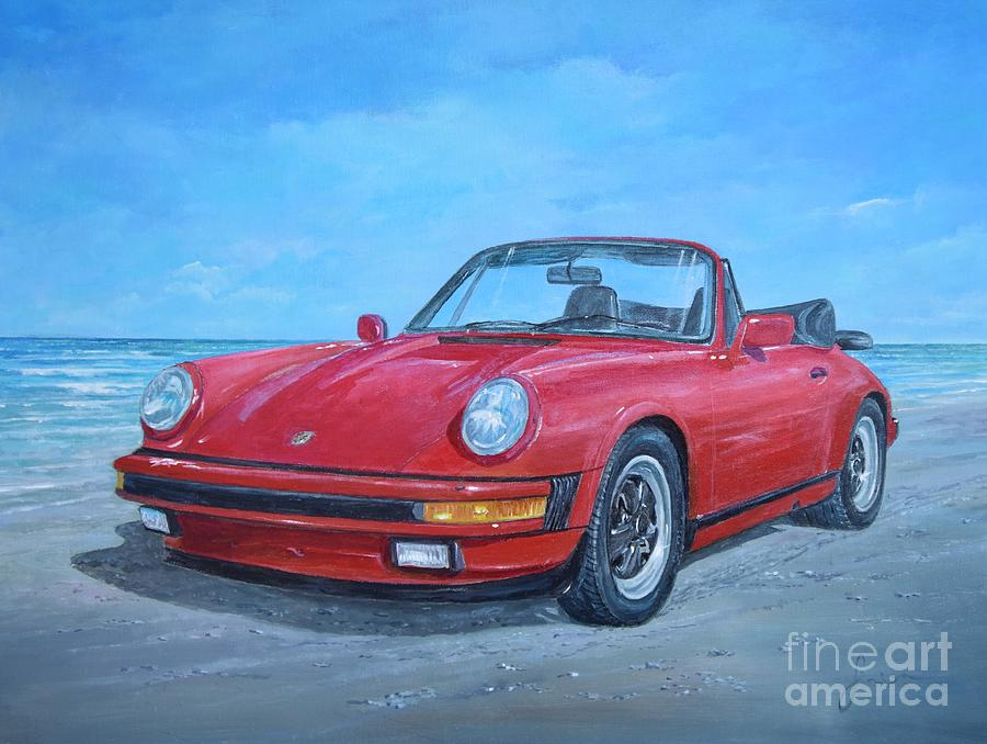 Antique Cars Painting - 1987 Porsche carrera cabriolet by Sinisa Saratlic