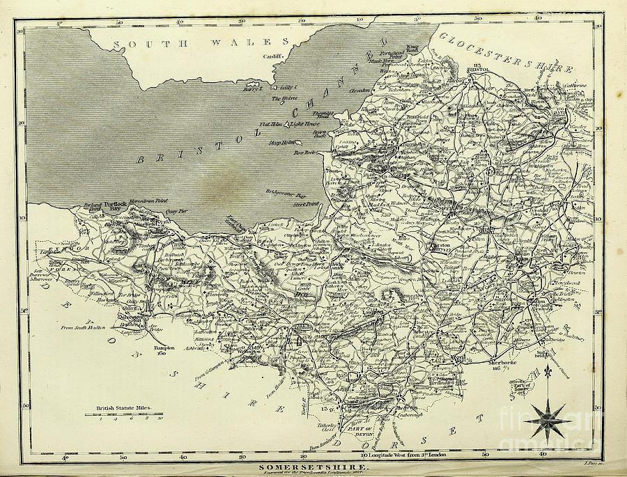 19th Century Map Of Somersetshire F1 Photograph