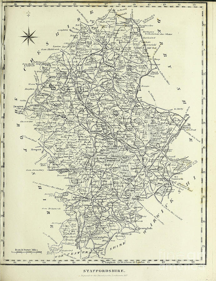 19th Century Map Of Staffordshire F1 Photograph