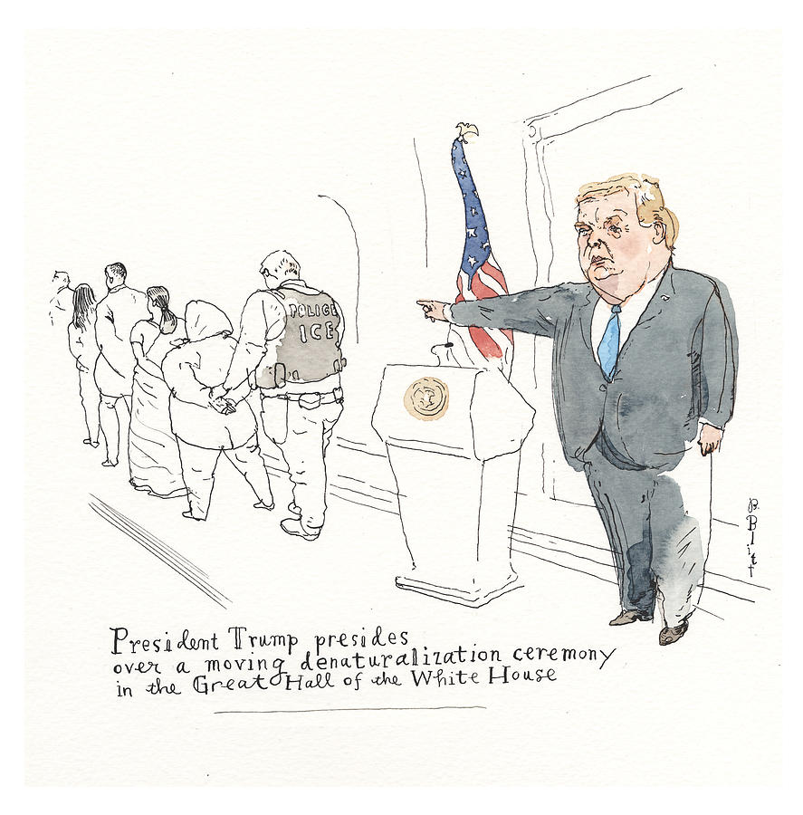 A Peek At Melanias Teleprompter Painting by Barry Blitt