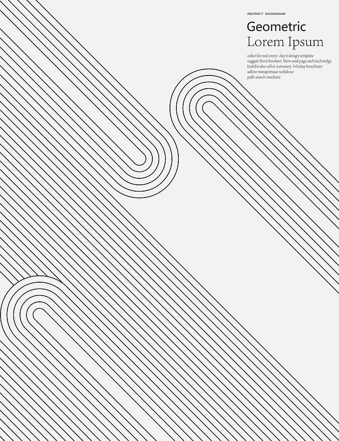 Black And White Geometric Style Line Pattern Background Drawing by Shuoshu