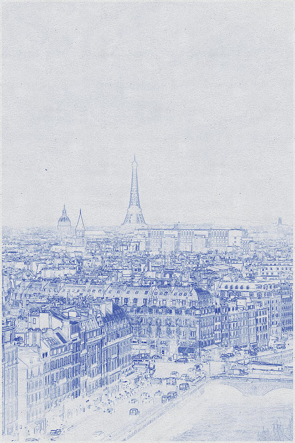Blueprint Drawing Of Eiffel Tower, Paris, France Digital Art