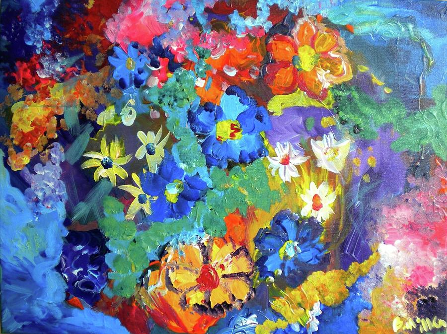 Flowers Painting - Blue Bright Flowers by Britt Miller