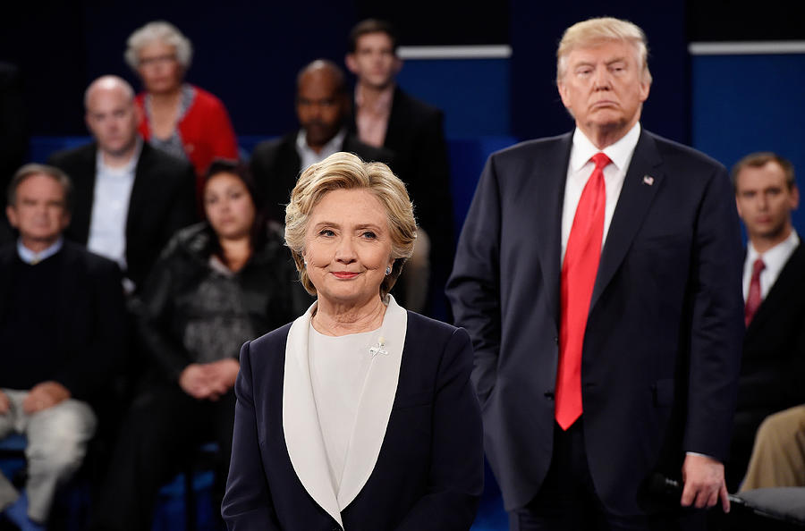 Candidates Hillary Clinton And Donald Trump Hold Second Presidential Debate At Washington University Photograph by Pool