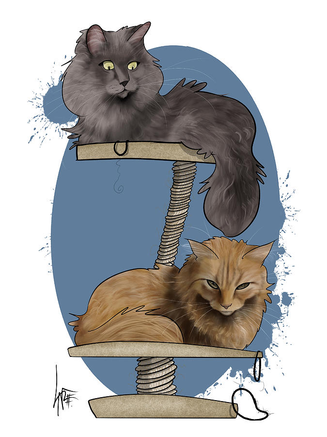 2 Cats On A Tower Drawing