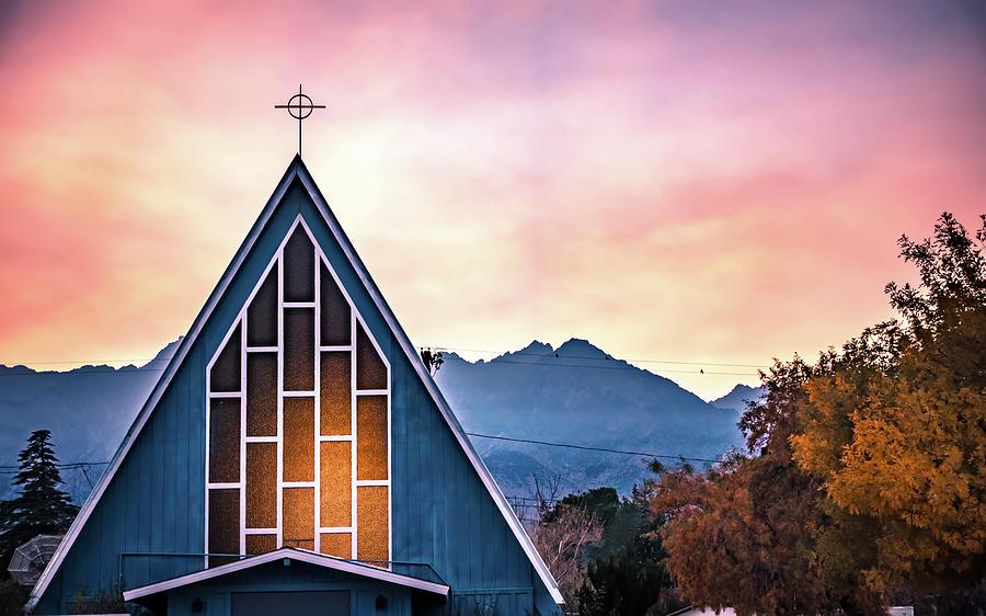 chapel in bishop california autumn season by ALEX GRICHENKO